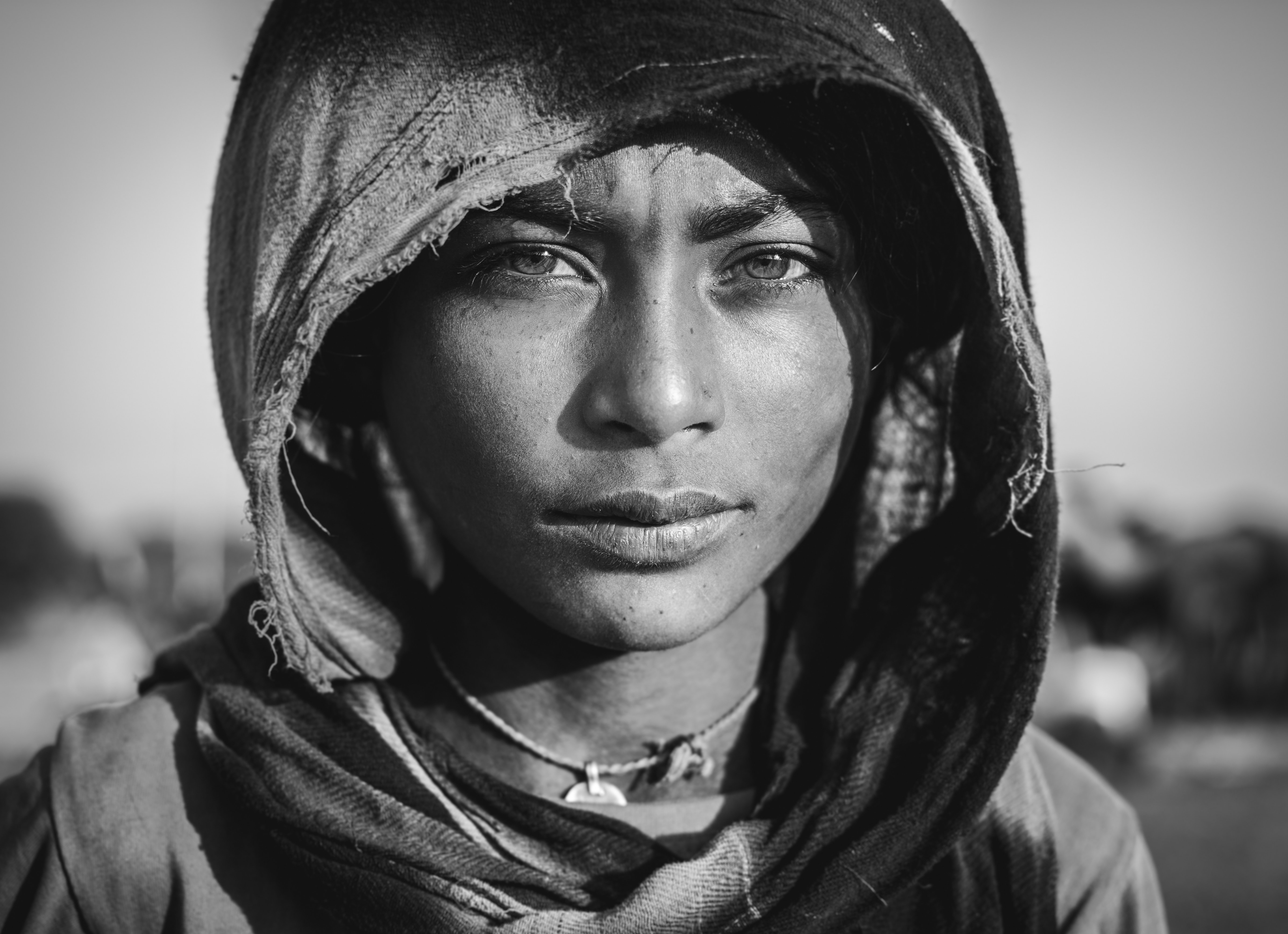 grayscale photography of woman wearing hijab
