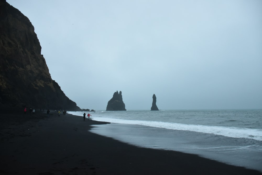 people standing on seashore during daytime
