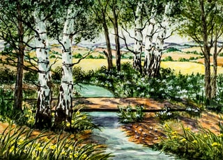 river under trees painting