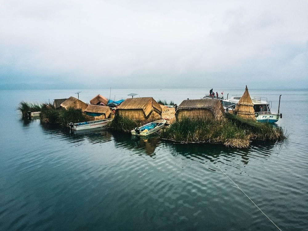 houses between body of water