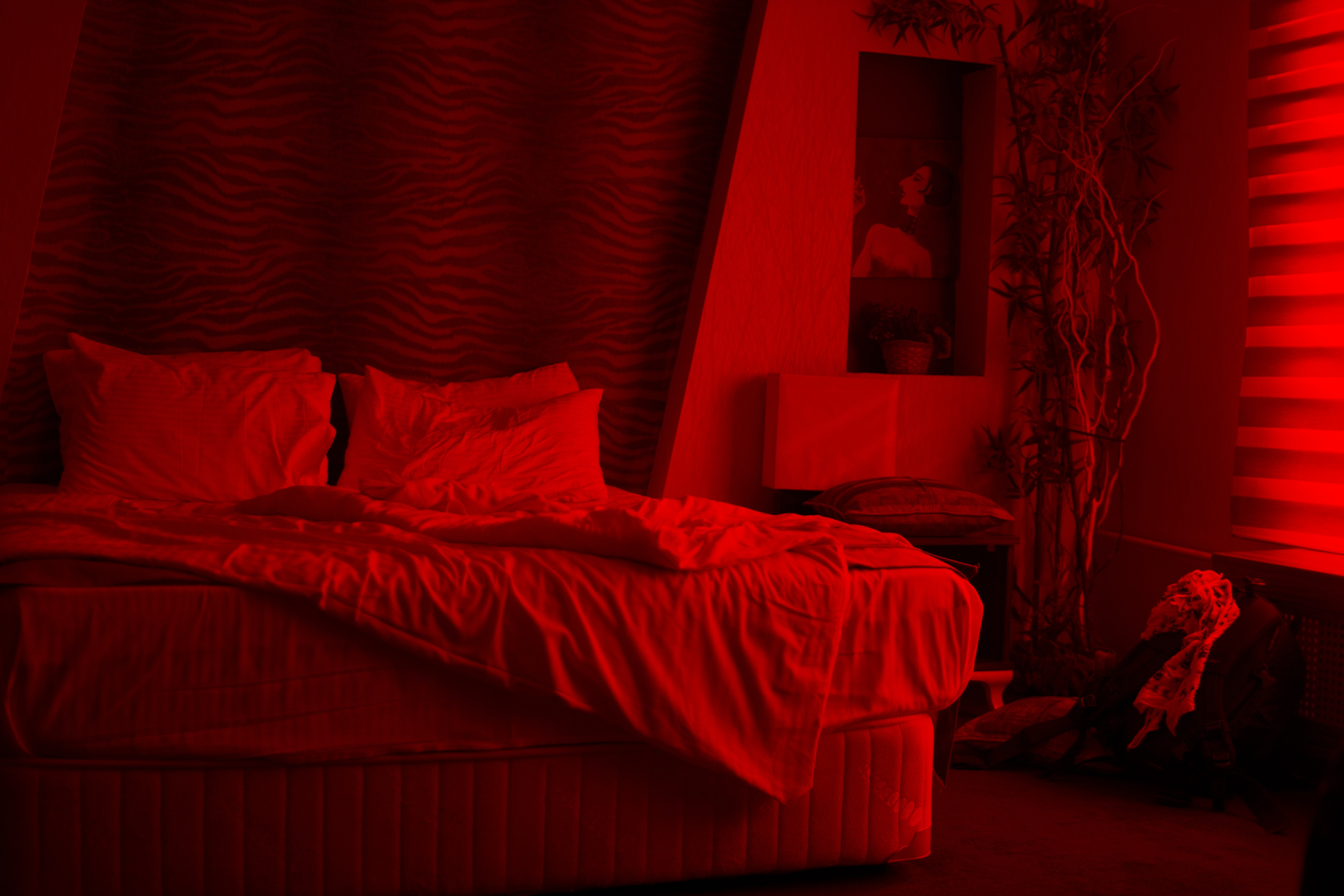 red and black bed sheet