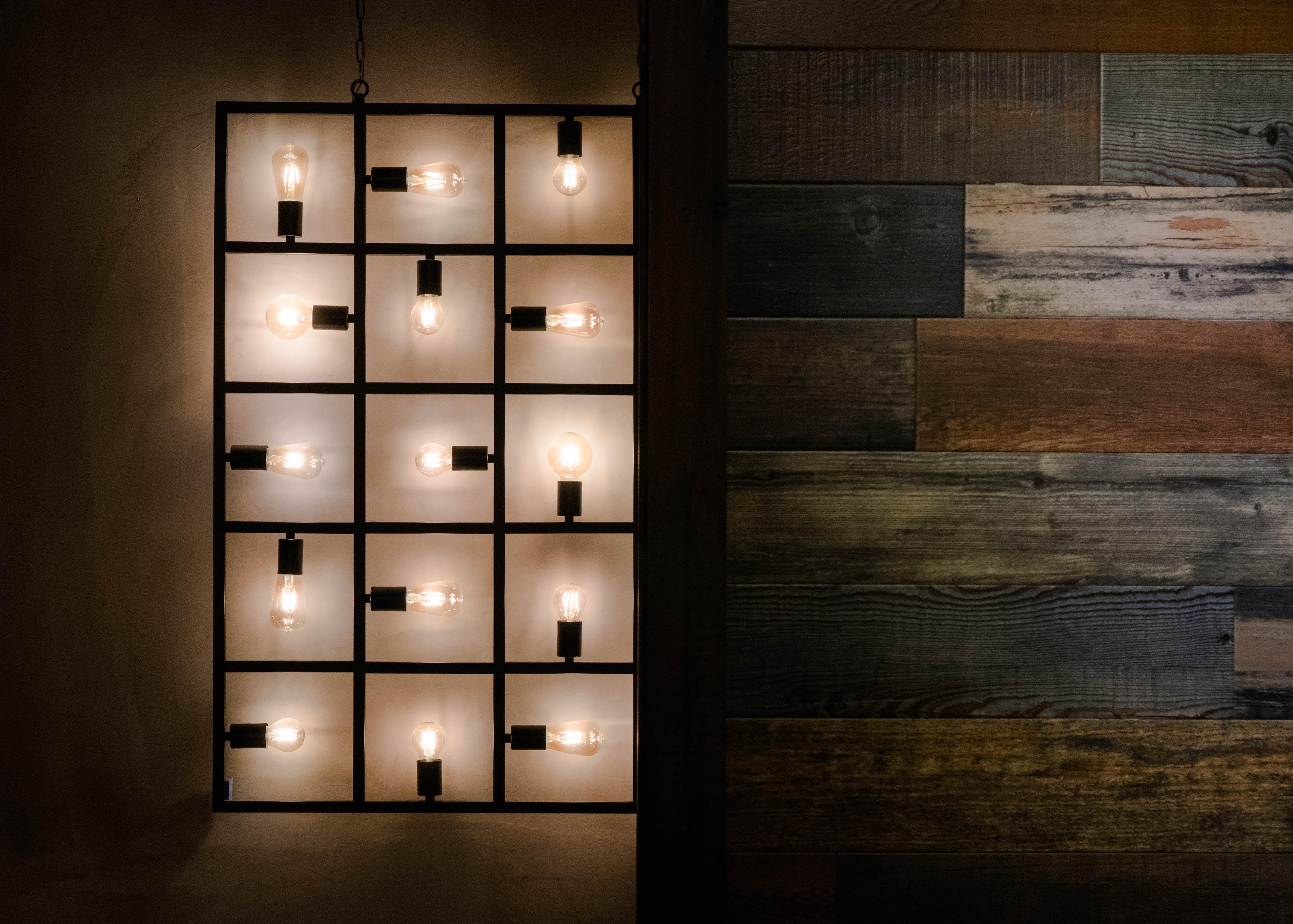 lighted bulb wall decor