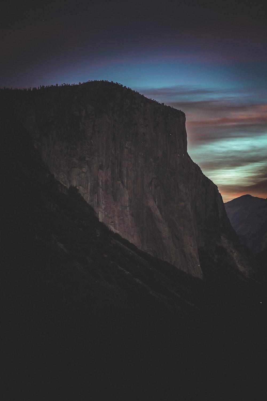 brown mountain at night
