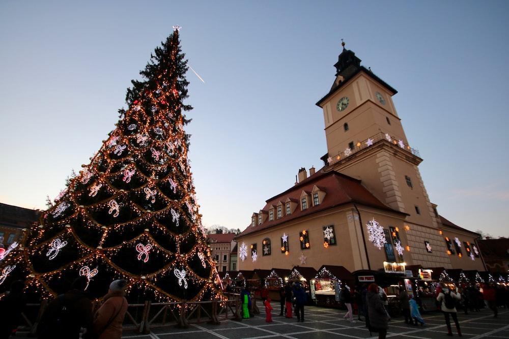 low angle photography of giant Christmas tree