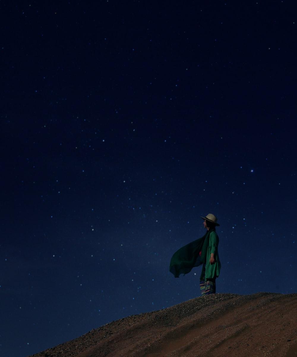 woman standing on desert