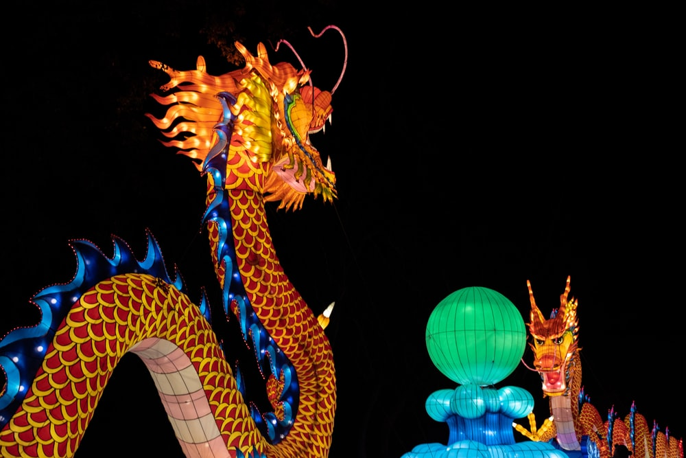 orange and blue lighted dragon statue