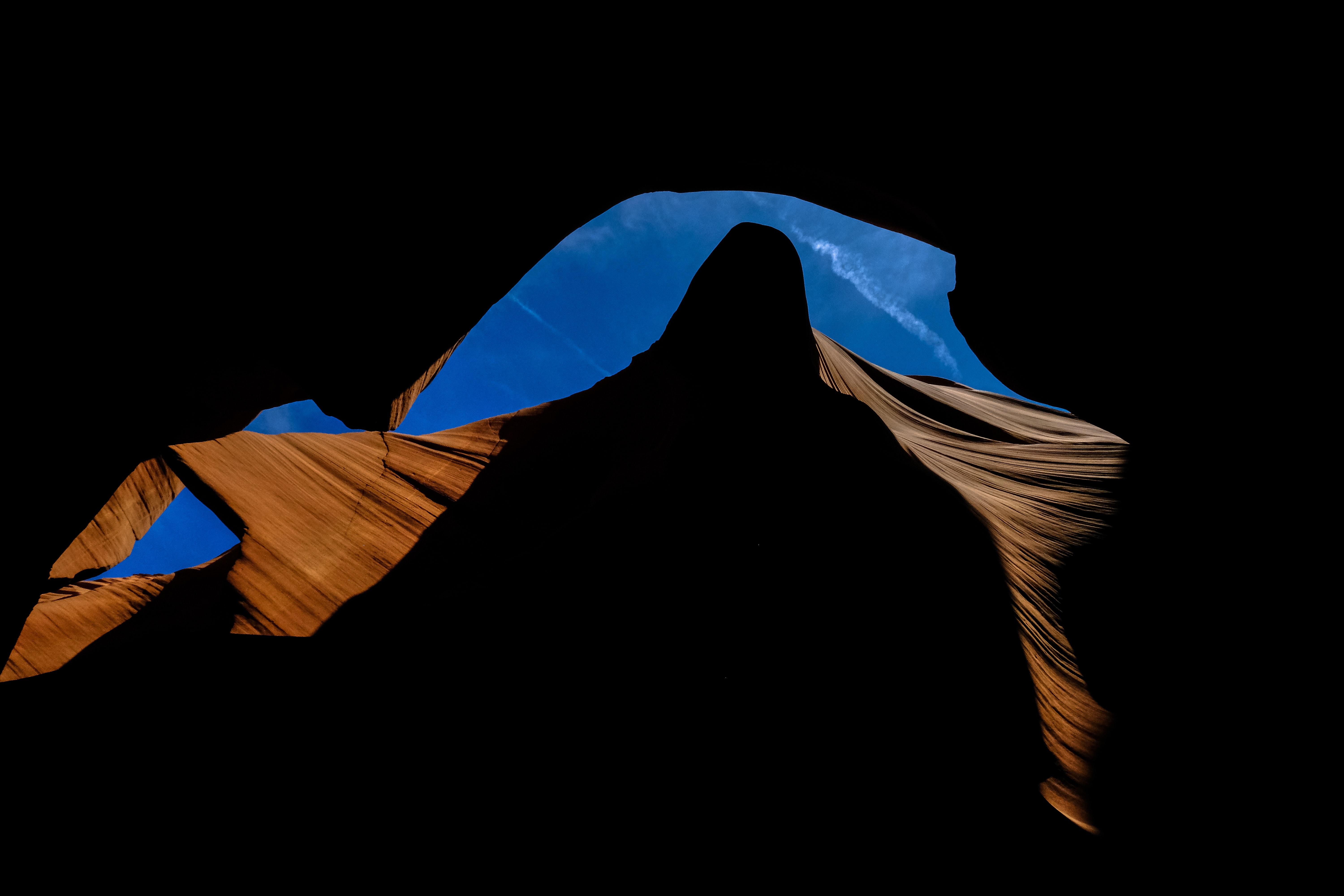 blue, white, and brown textile