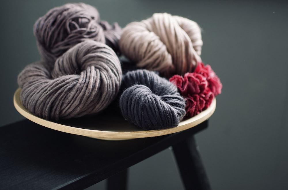 black and brown yarn
