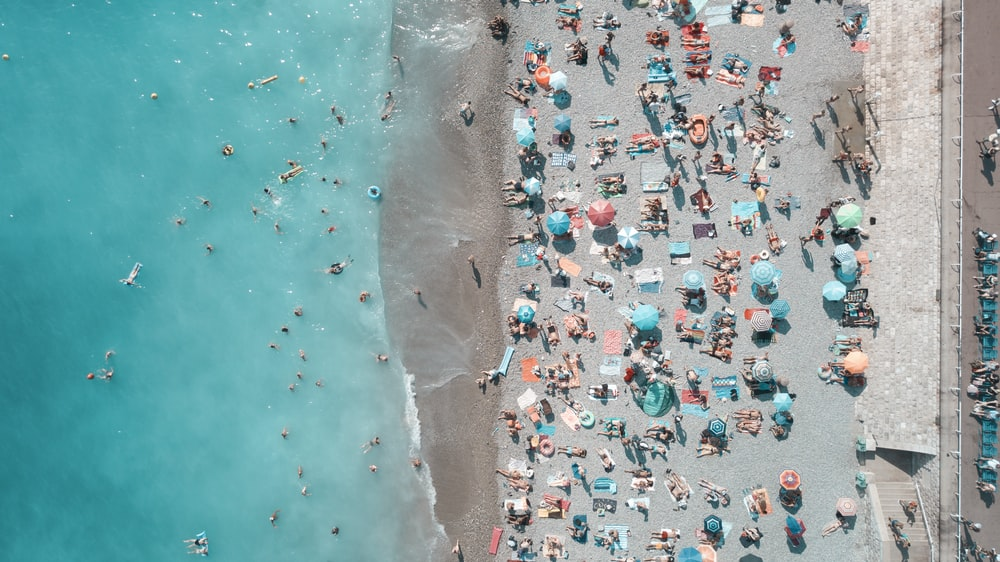 aerial photography of people on the beach