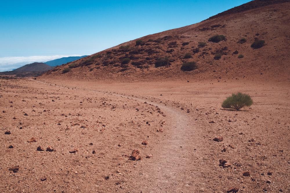 brown rough road near hill