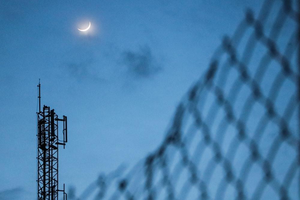 metal tower during night