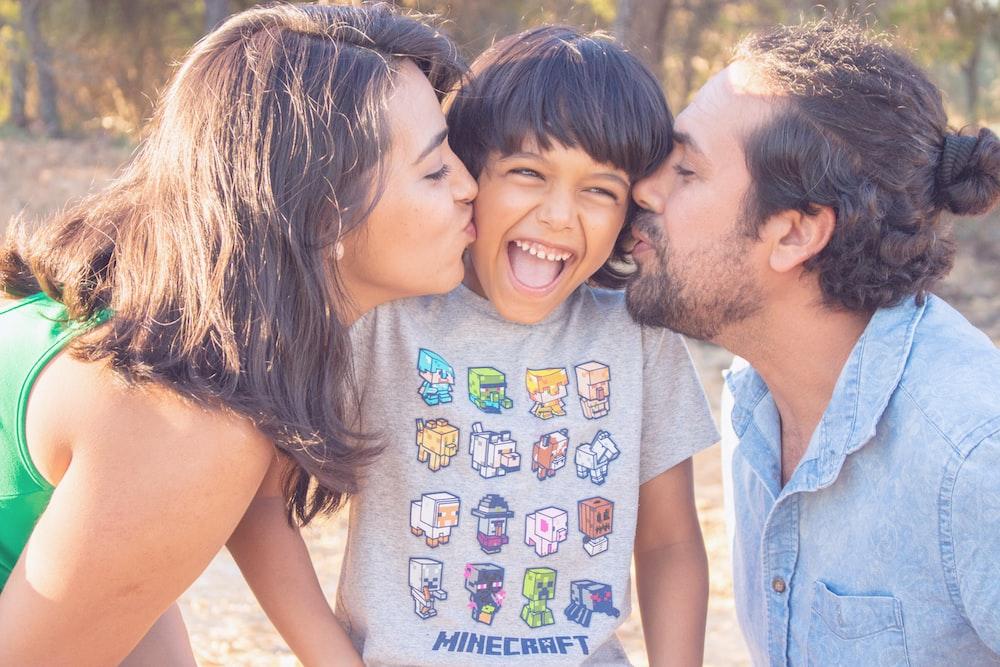 happy family beside beach