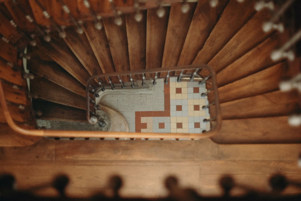 aerial view photography of stairs