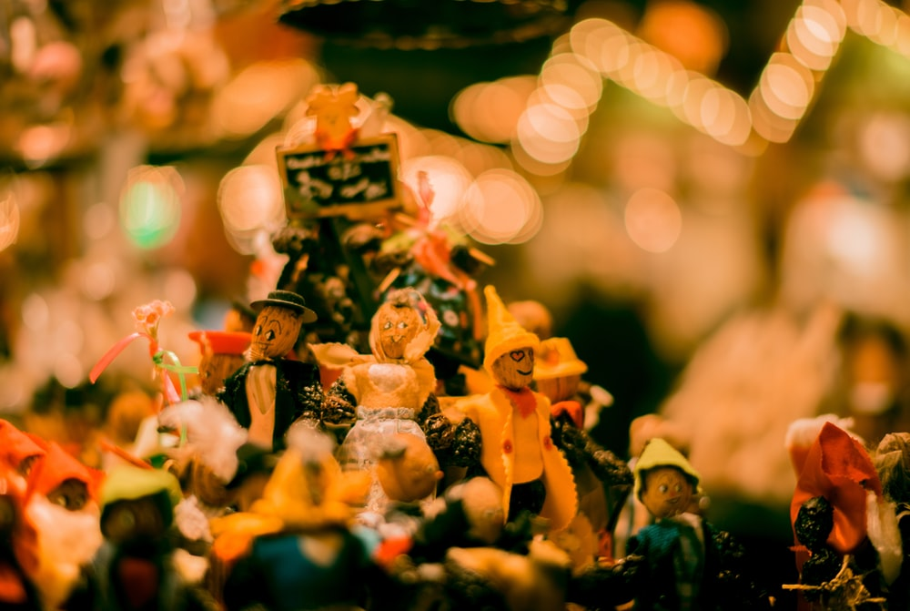 assorted-color figurine collection bokeh photography