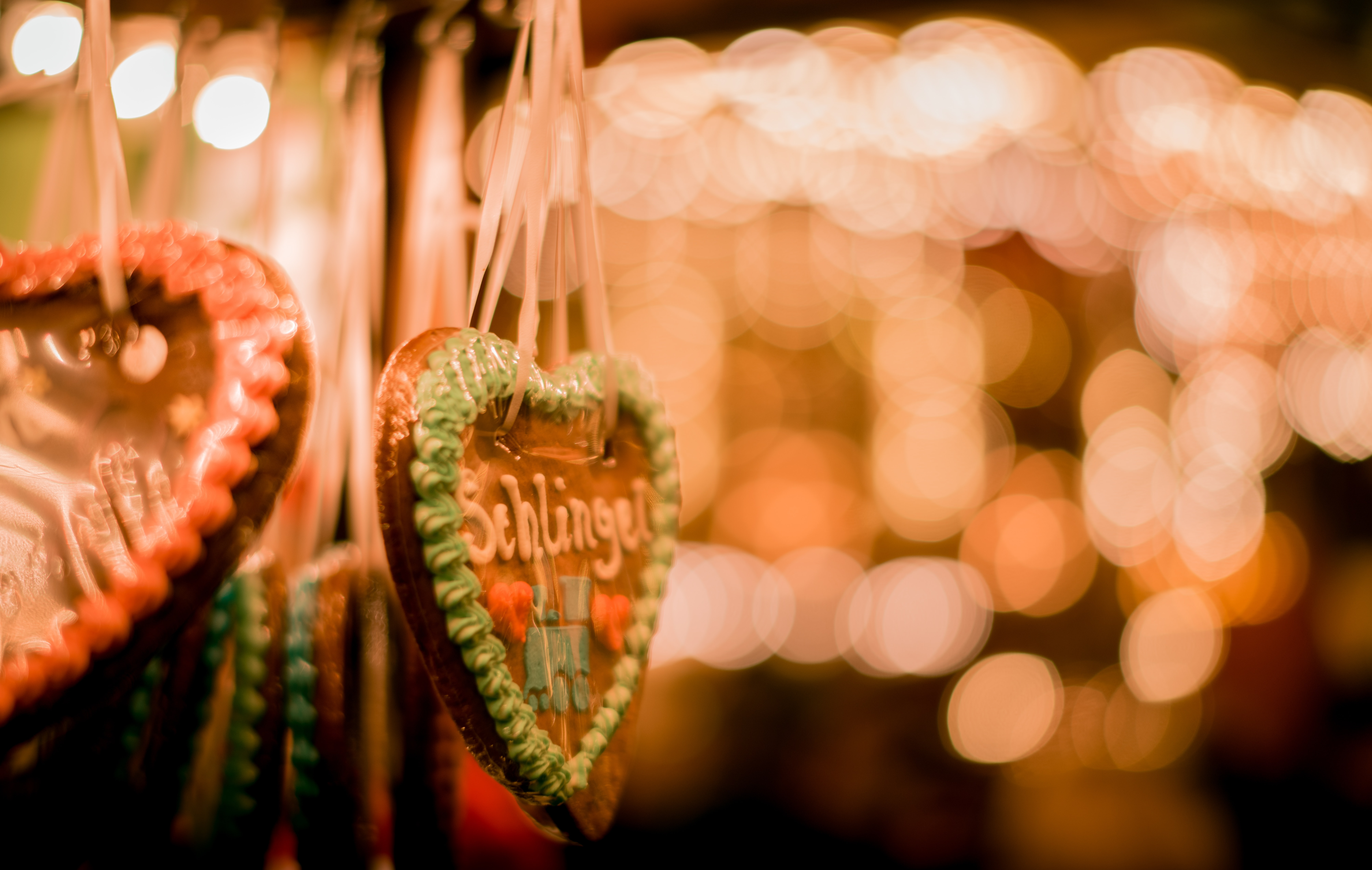 bokeh photography of brown heart hanging decor