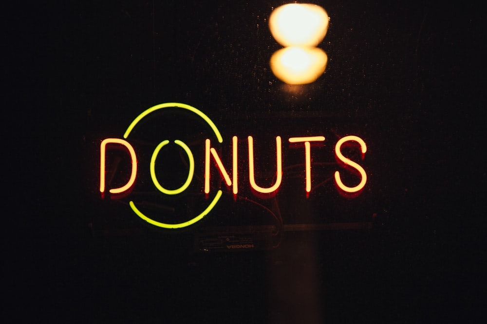 lighted Donuts signage