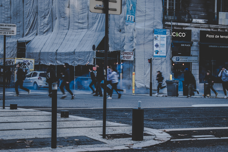 people running near street