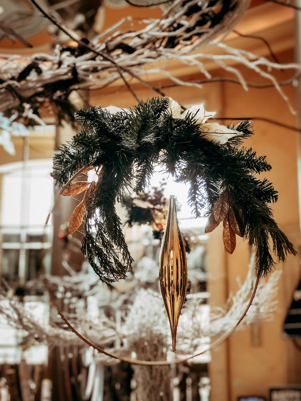 round green and grey Christmas decor