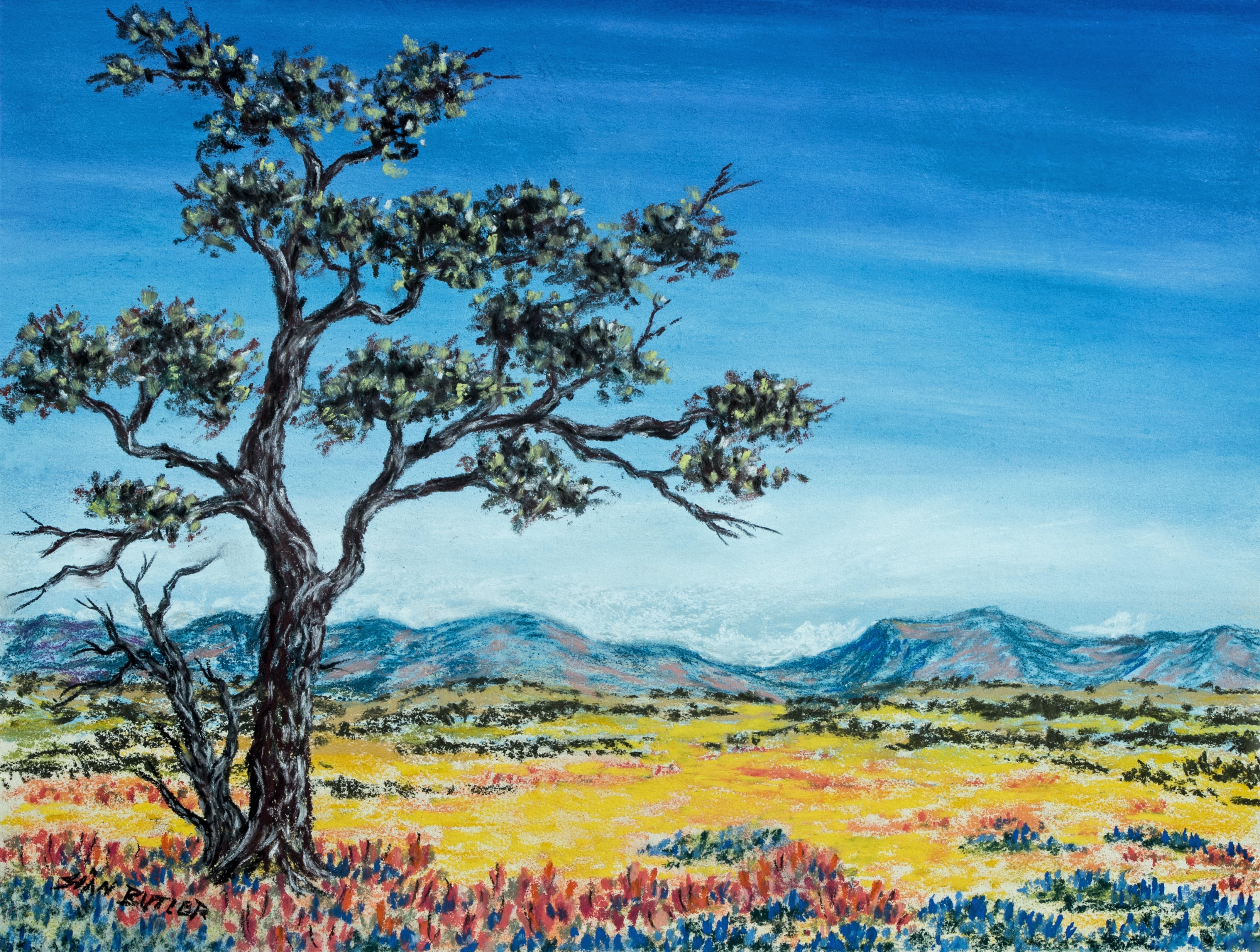 brown and blue trees painting
