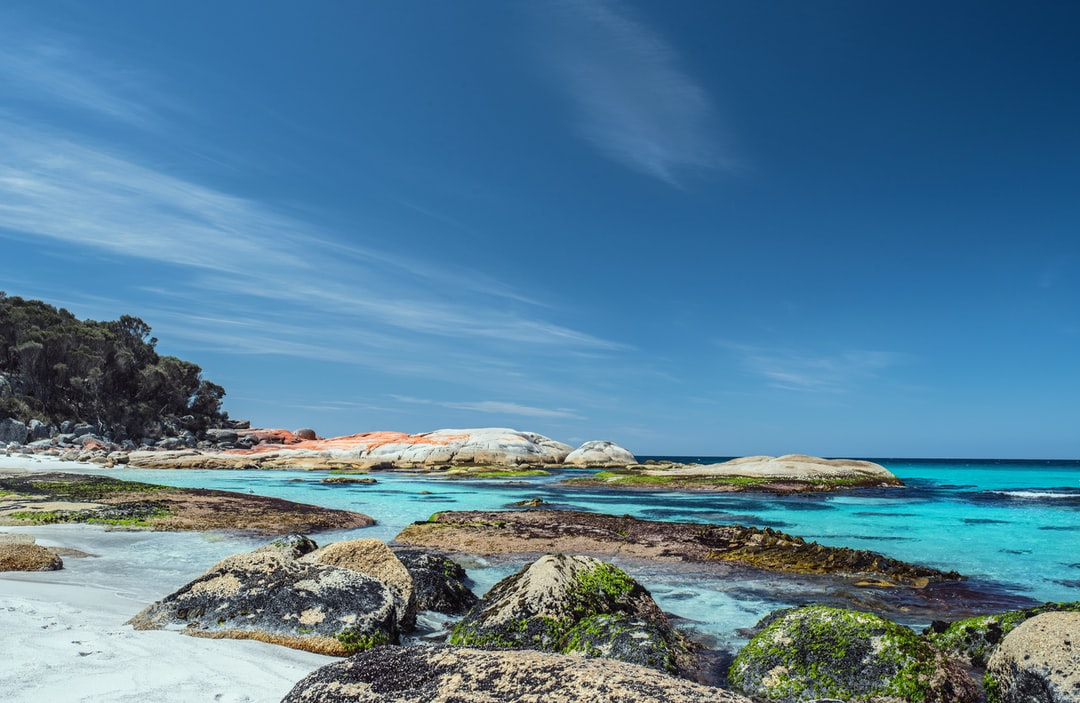 Cosy Corner Beach, North of Binalong Bay, Tasmania, Australia. The Bay of Fires area on the Northern East coast of Tasmania is a delightful area of beautiful beaches and rocky headlands.