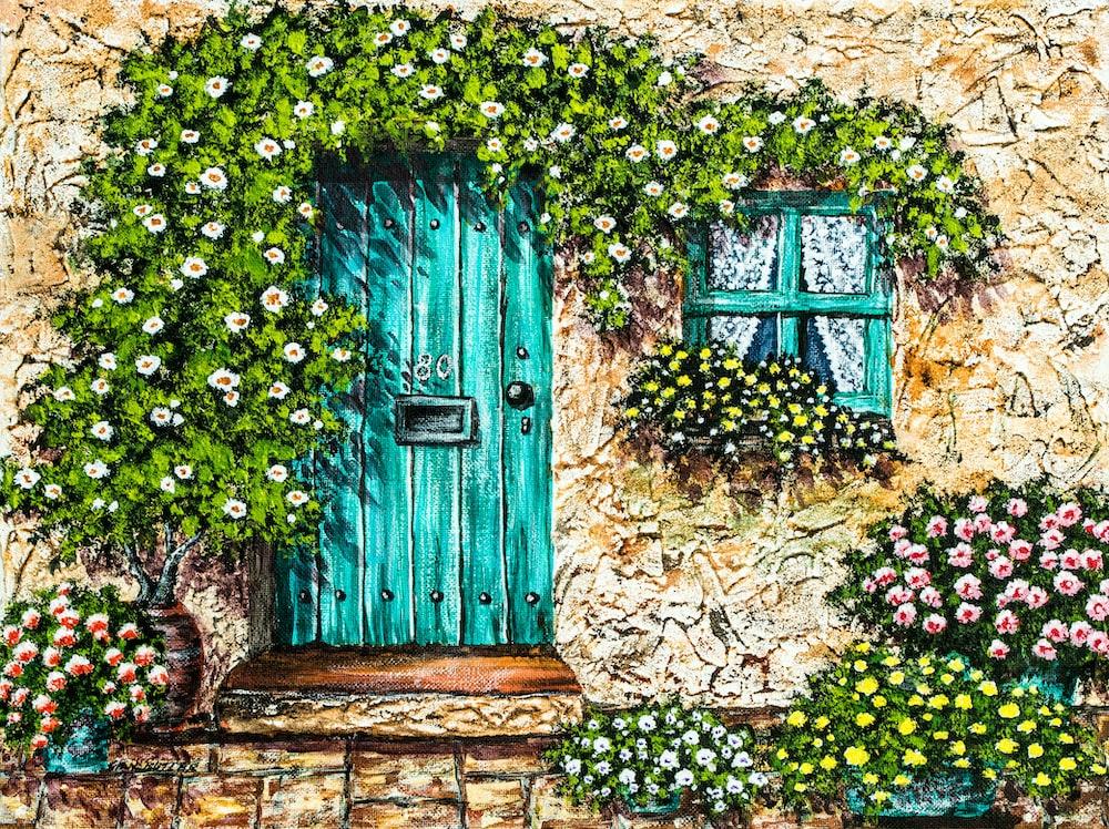 teal wooden closed door