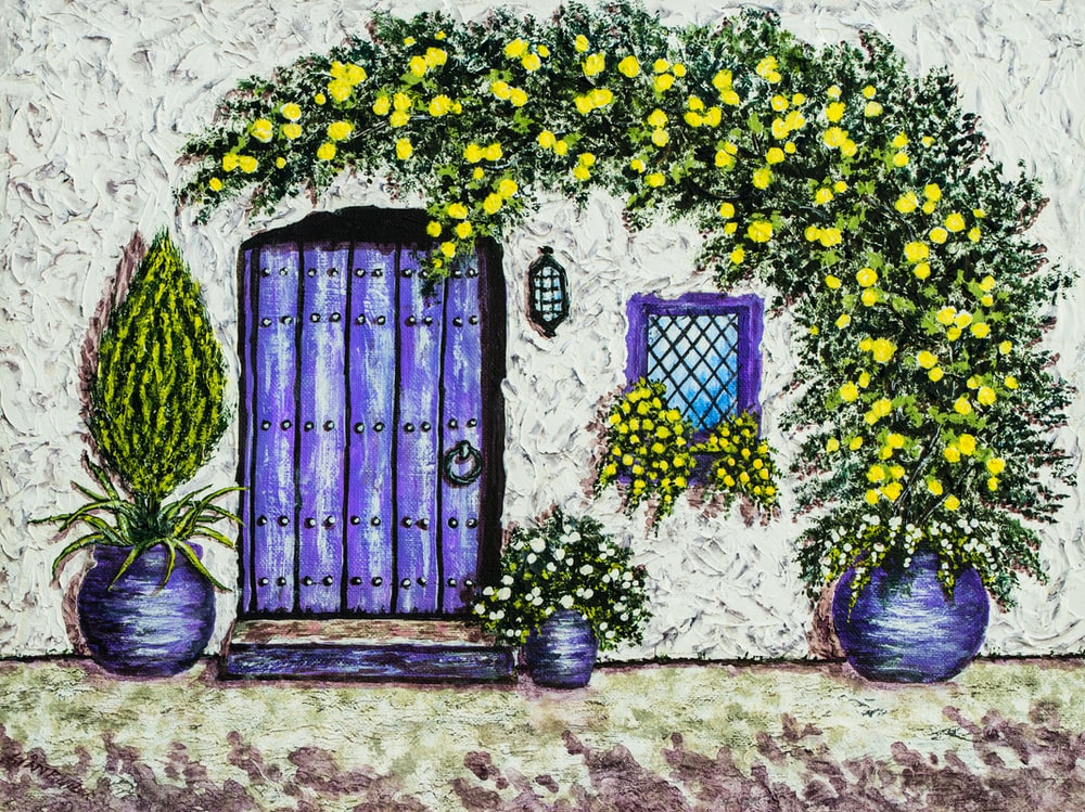 yellow flowers potted beside concrete wall illustration