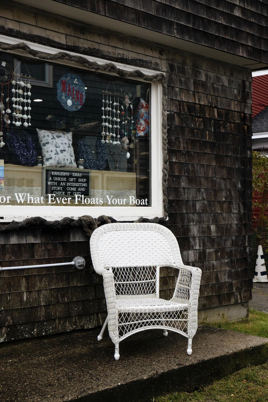 white wicker armchair