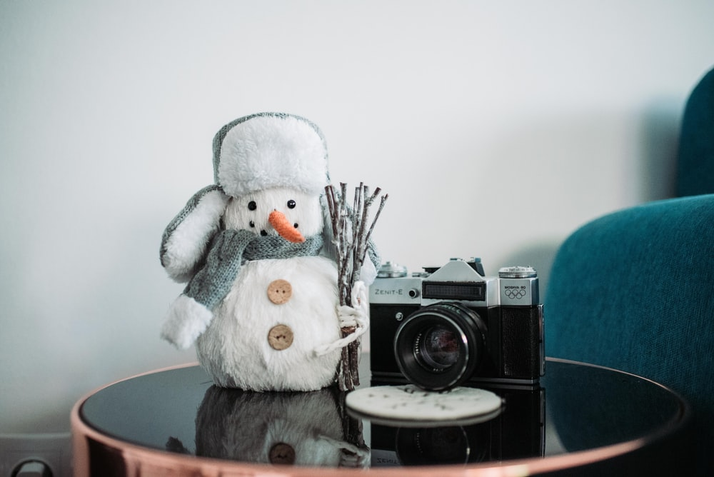 black and gray camera beside snowman doll on table