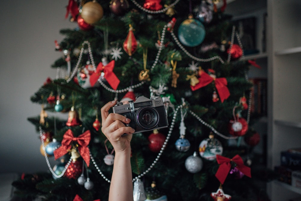 person holding black point-and-shoot camera near Christmas tree