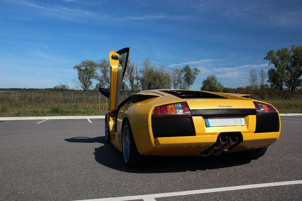 yellow Lamborghini sports car