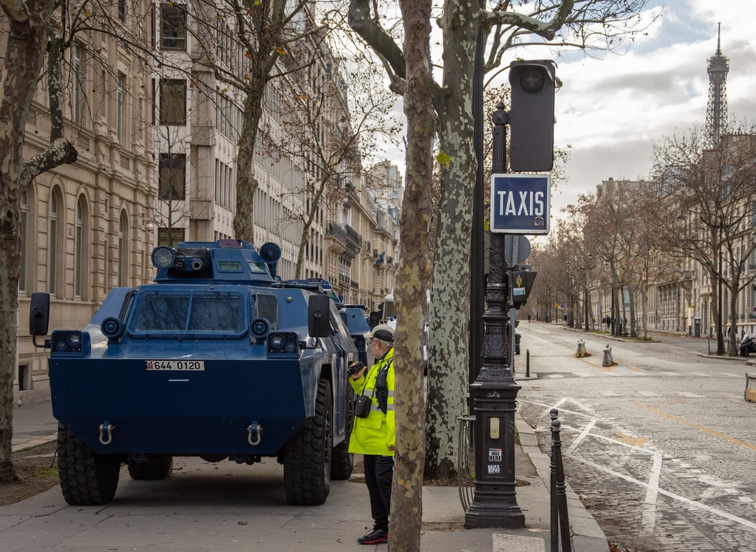 An army tank placed one block away from Champs Elysees on December 8th as part of security measure for the Gilet Jaune movement's protest.