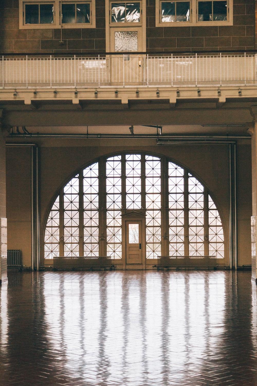 closed white half-lite door