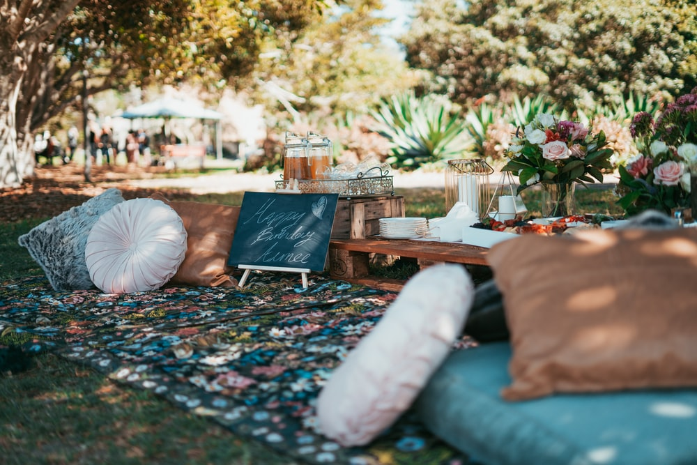 selective focus photography of hippie themed party setting