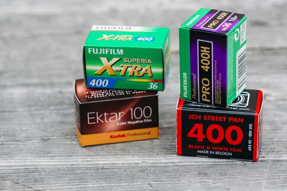 four Fujifilm boxes