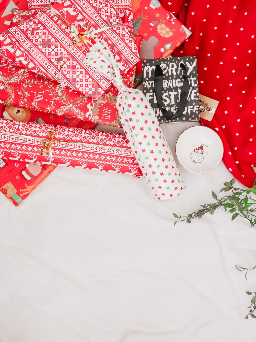 red gift wrapped presents