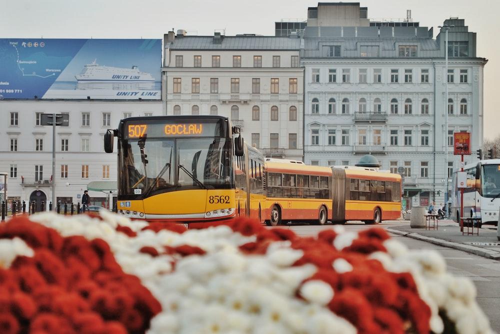 yellow tram on street during daytime