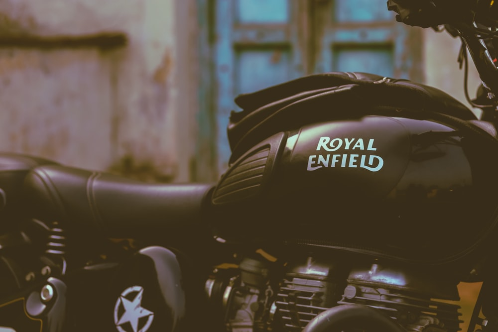 black Royal Enfield motorcycle
