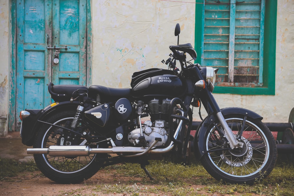 black and silver motorcycle