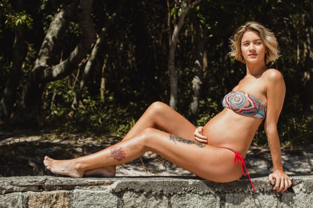 pregnant woman in bikini