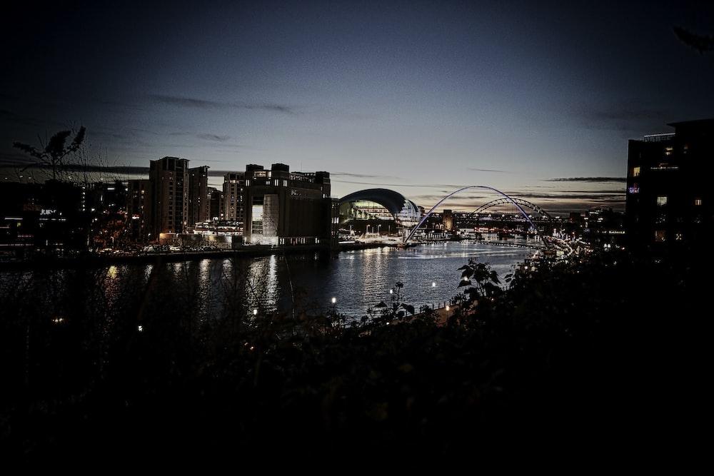 silhouette photo of city beside sea