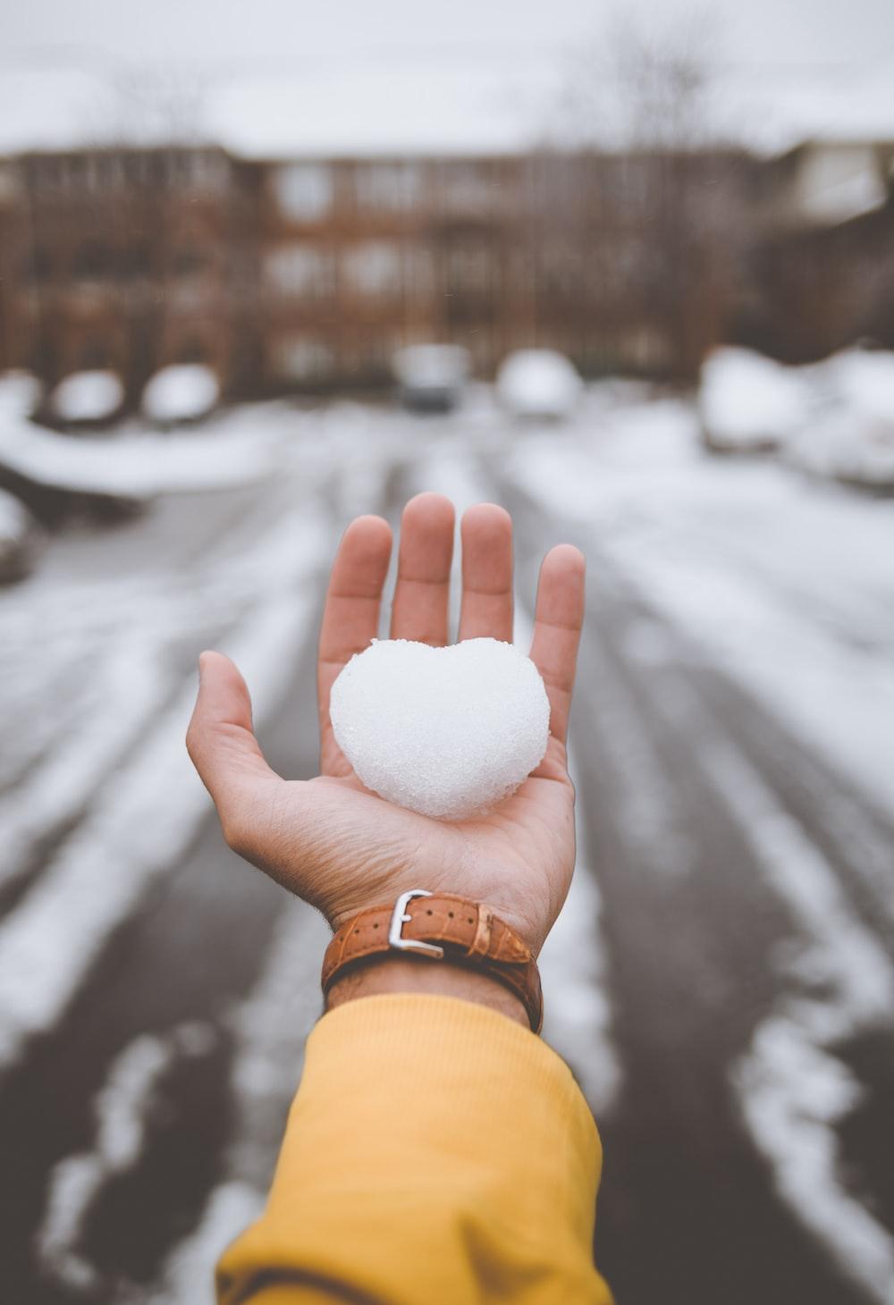person holding white snow