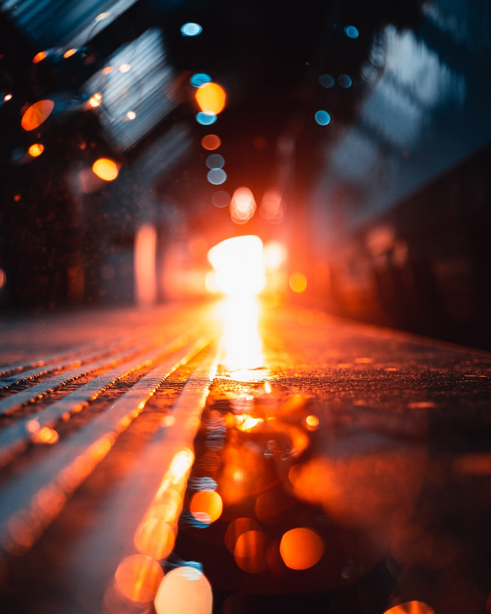 bokeh lights photography of road