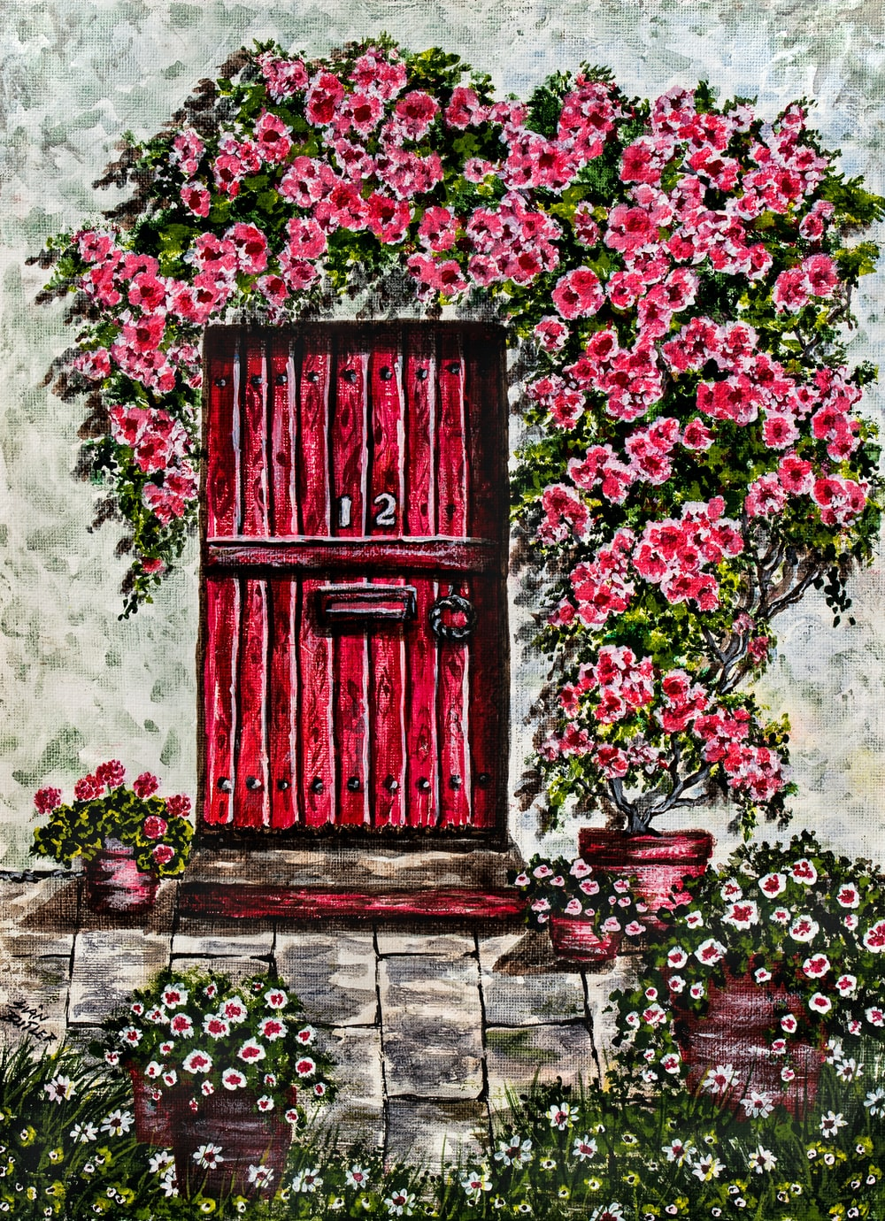 closed red wooden gate