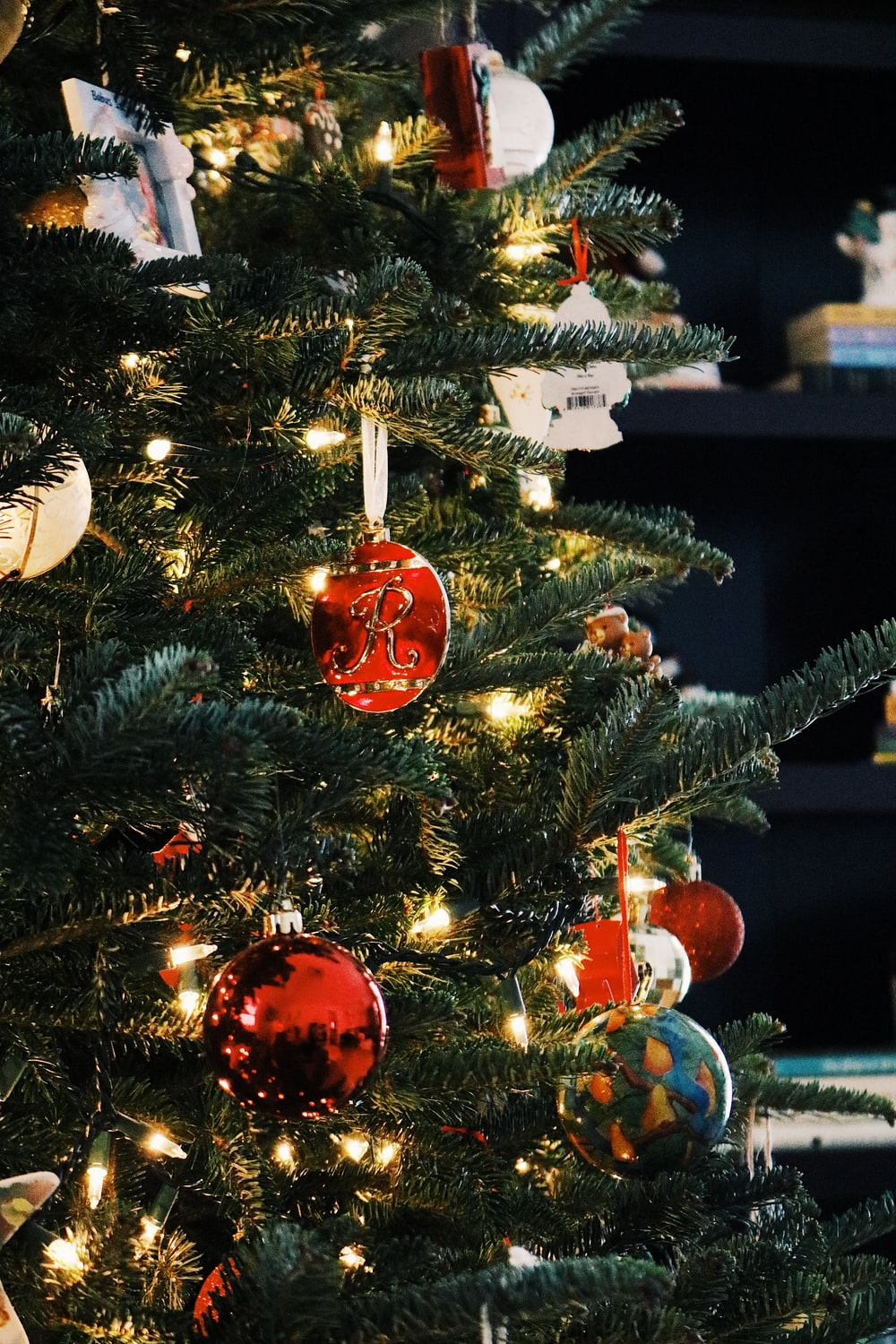 baubles hung on Christmas tree