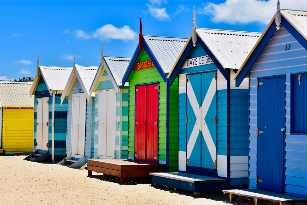 multicolored sheds