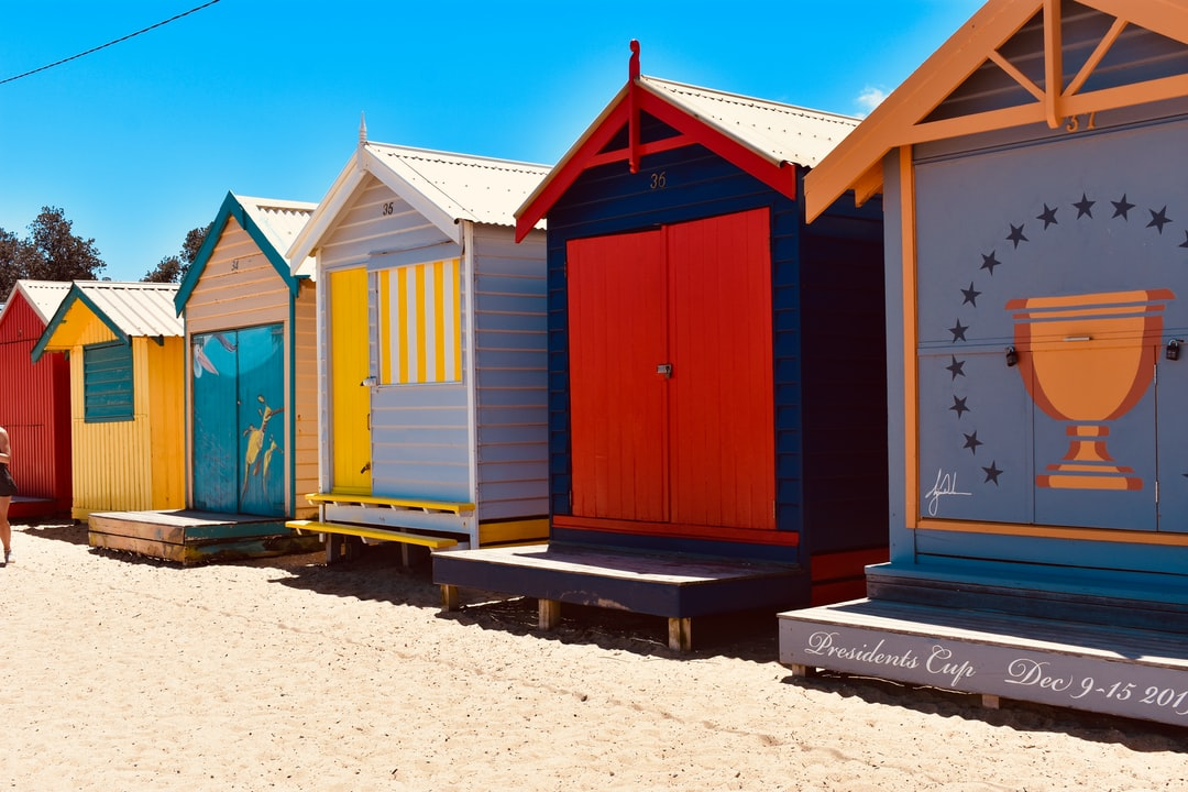 Colorful bathing boxes at Brighton Beach.