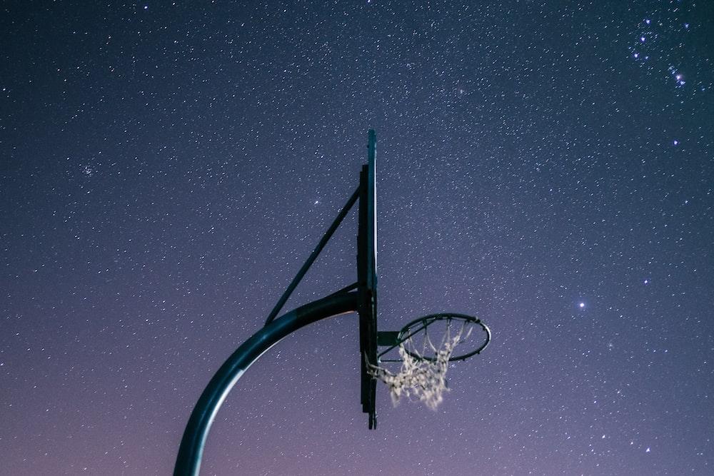 basketball rim at night