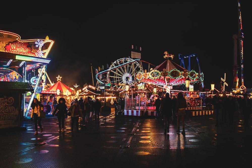 amusement park photo at night