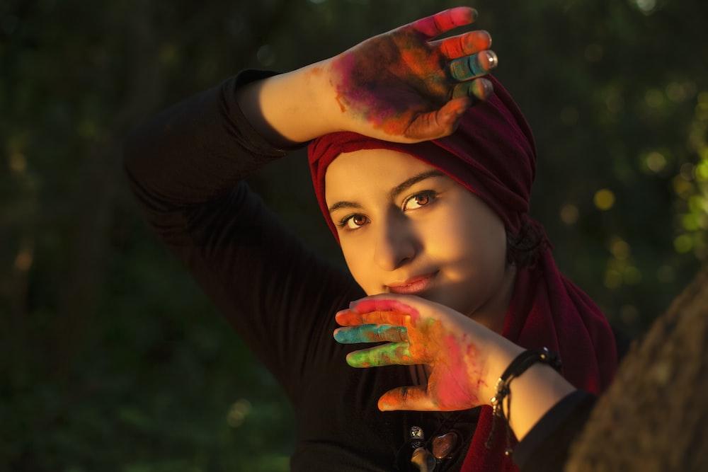 women's red headscarf