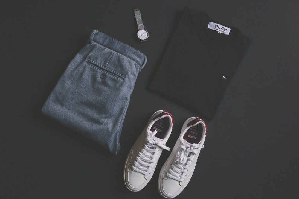 pair of white low-top sneakers